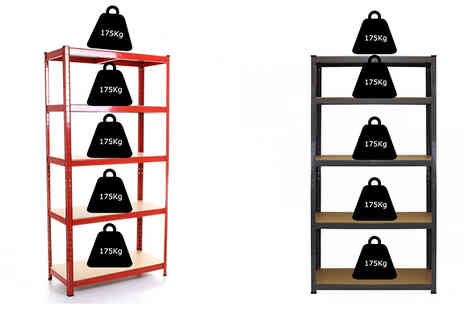 Mspackaging - Heavy Duty 5 Tier Shelving Rack Choose 3 Colours - Save 78%