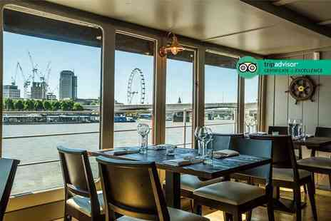 The Yacht London - Sunday lunch on the river with a bottle of wine for two - Save 41%