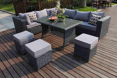 Dreams Living - Nine seater Lshaped rattan dining set, including a rain cover - Save 40%