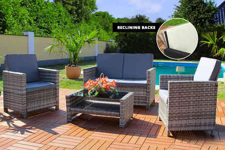 EveMotion GmbH - Reclining rattan lounge set choose from three colours - Save 62%