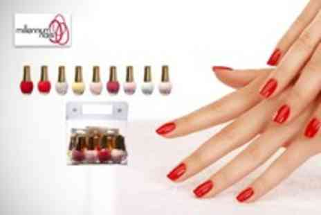 Millennium Nails - 9 nail polishes in a range of summer colours and a nail art kit - Save 71%