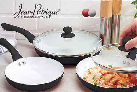 Jean Patrique - Three piece ceramic pan set choose from three colours - Save 86%