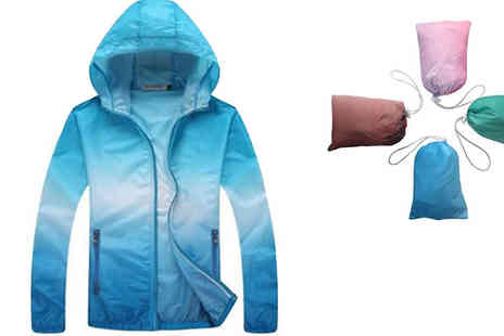 Blu Apparel - Packable Lightweight Waterproof Jacket Choose Sizes 8 To 16 - Save 0%
