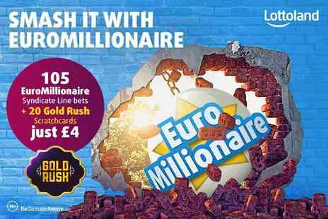Lottoland - 105 EuroMillionaire syndicate line bets and 20 scratchcards - Save 56%