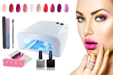 14 Day Manicure - 12 or 15 piece gel nail polish and accessories kit with Uv lamp - Save 84%