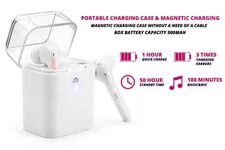 Maxwe - Pair of Bluetooth wireless earphones with a charging case - Save 80%