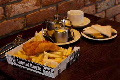 The Chippy Doon The Lane - Fish supper and tea or coffee for two or four people or with a bottle of wine to share - Save 60%
