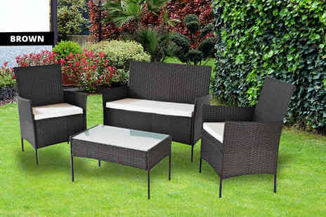 Home Empire - 4pc Oakfield rattan set choose from two colours - Save 83%