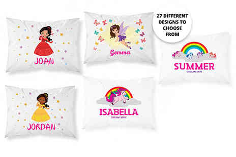 Personalised Gifts Market - Childrens personalised pillowcase choose from 27 designs - Save 73%