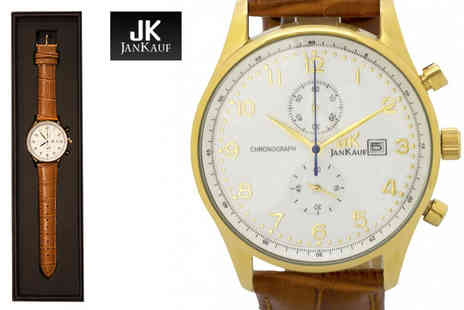 Jan Kauf - Mens JK1037 brown and gold leather watch - Save 87%