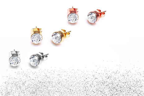 Lily Spencer - Three pairs of crystal studs in three colours - Save 91%