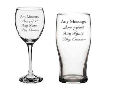 CNC Group - Personalised engraved pint or wine glass with a gift box - Save 0%