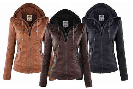 Blu Apparel - Faux leather hooded jacket choose from three colours - Save 0%