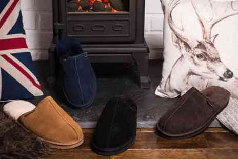 Groupon Goods Global GmbH - Mens Suede and Australian Sheepskin Slippers - Save 75%