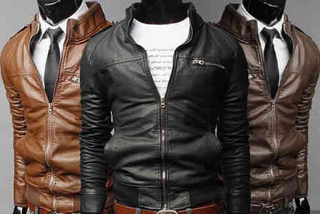Blu Apparel - Mens faux leather jacket choose brown, dark brown or black - Save 0%