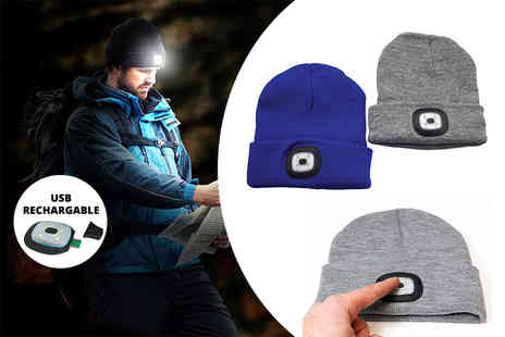 ViVo Technologies - Knitted beanie with four LED headlamp choose from two colours - Save 71%