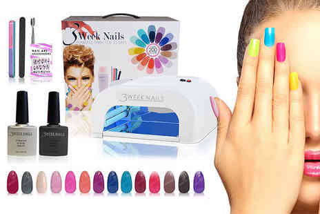 14 Day Manicure - 15 piece gel nail polish and accessories kit with Uv lamp - Save 84%