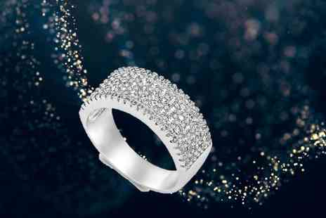 GameChanger Associates - Silver plated cubic zirconia studded ring - Save 80%