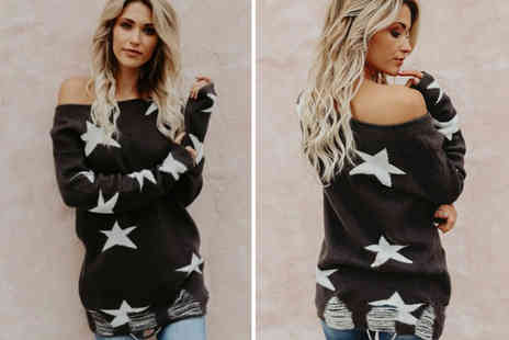 Blu Fish - Black And white off shoulder star jumper choose from four sizes - Save 0%