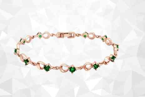 GameChanger Associates - Rose gold plated bracelet with emerald green crystals - Save 86%