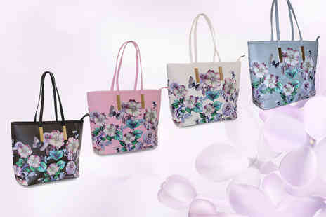 Pearl Fashion - Floral print handbag choose between four colours - Save 75%