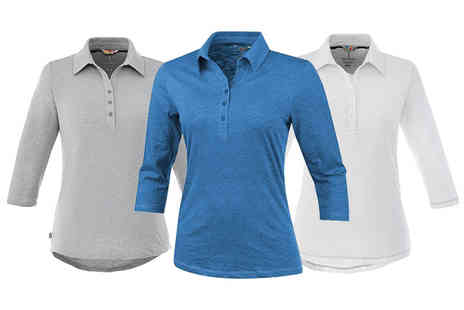 New Mills Group - Elevate three quarter sleeve polo top choose from three colours - Save 60%