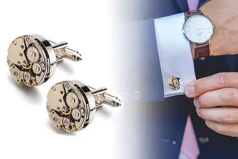 London Exchainstore - Pair of steampunk style watch movement cufflinks - Save 70%