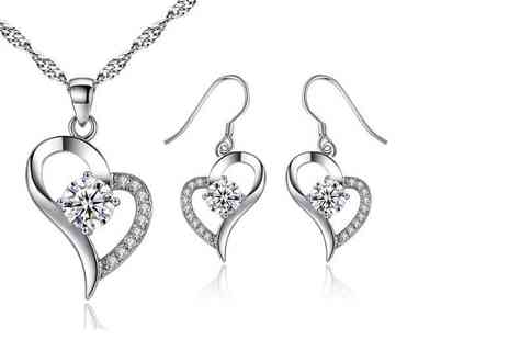 GameChanger Associates - Heart necklace and earrings made with crystals from Swarovski - Save 88%