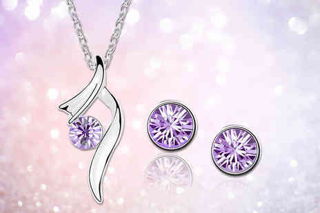 Evoked Design - Crystal swirl earring and necklace set from Evoked Design - Save 91%