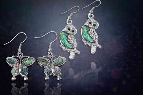 Evoked Design - Iridescent butterfly or owl earrings from Evoked Design - Save 79%