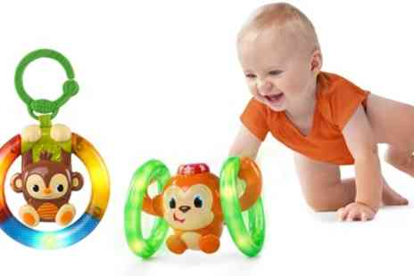 Groupon Goods Global GmbH - Bright Starts Learn, Roll and Glow Monkey and Light Up Ring Rattle Toy - Save 0%