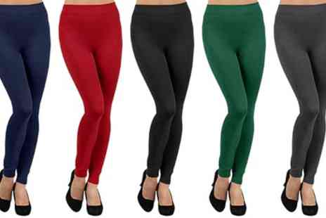 Groupon Goods Global GmbH - Two Pairs of Womens Mid Waist Fleece Lined Leggings - Save 0%