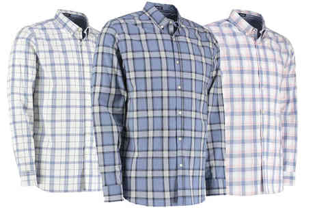 New Mills - Long sleeved marl check shirt choose from three colours - Save 76%