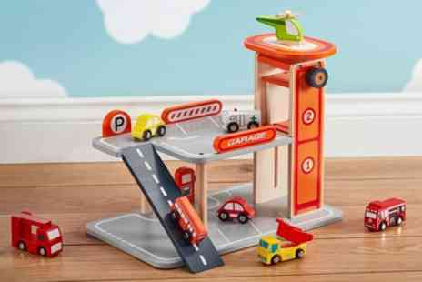 Groupon Goods Global GmbH - Wooden Toy Parking Garage with Optional Vehicles - Save 64%