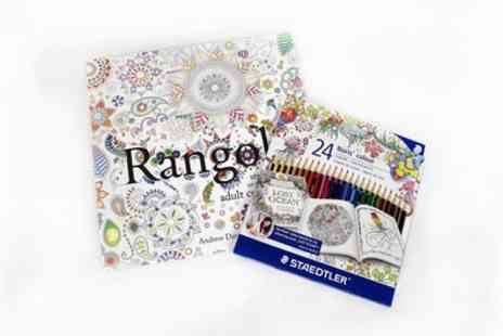 Groupon Goods Global GmbH - Staedtler Rangoli Inspired Adult Colouring Book with 24 Colour Pencils - Save 55%