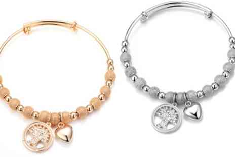 Groupon Goods Global GmbH - One, Two or Three Philip Jones Tree of Life Bangles with Crystals from Swarovski - Save 81%