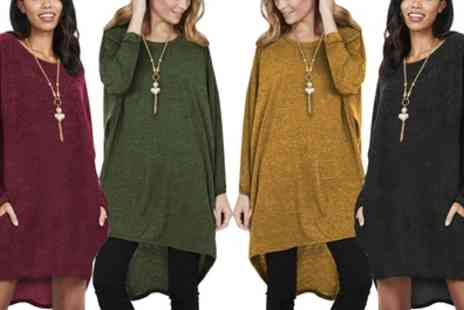 Groupon Goods Global GmbH - Oversized Necklace Jumper Dress with Pockets in Choice of Colour - Save 0%