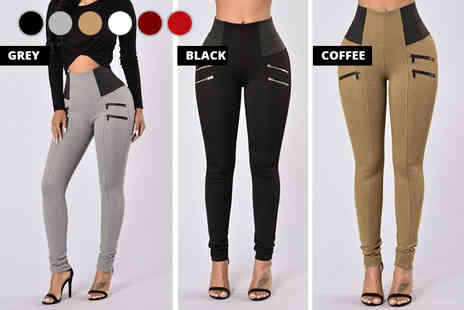 Blu Fish - Pair of elastic waist skinny trousers choose from six colours - Save 75%