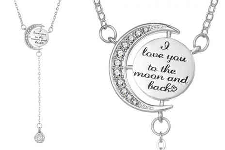 Philip Jones - Moon and Back necklace made with crystals from Swarovski - Save 74%