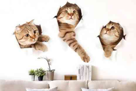 Groupon Goods Global GmbH - One or Two Packs of Three 3D Removable Large Cat Stickers - Save 60%