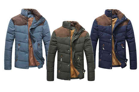 Blu Apparel - Contrast shoulder padded jacket choose from three colours - Save 63%