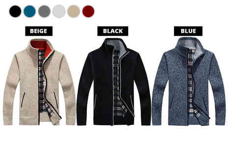 Bluebell Retail - Mens tartan lined sweater choose between six colours - Save 0%