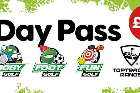 Golf Kingdom - All Day Pass for Unlimited Entry to Moby Golf, Foot Golf, Fun Golf, Plus 60 Balls on the TopTracer Range All for Just - Save 50%