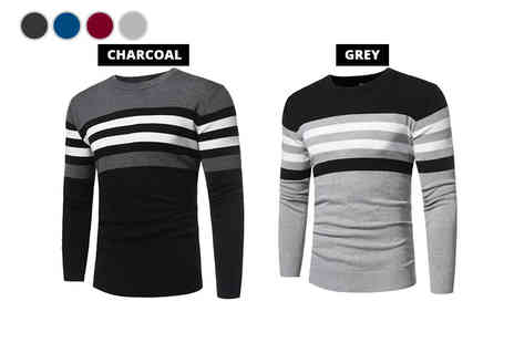 Bluebell Retail - Mens striped knitted jumper choose between four colours - Save 0%