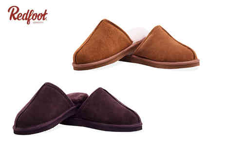Redfoot Shoes - Pair of mens sheepskin slippers choose between four colours - Save 75%