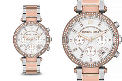 Direct E Trade - Michael Kors ladies Parker chronograph rose gold watch - Save 64%