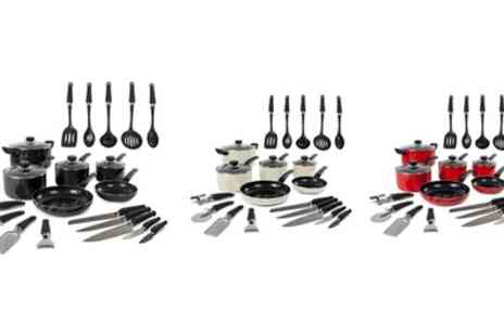 Groupon Goods Global GmbH - Morphy Richards Six Piece Pan Set and 14 Piece Tool Set With Free Delivery - Save 71%