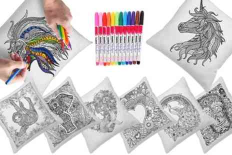 Groupon Goods Global GmbH - Up to Four Graffiti Pillow Covers with Colouring Pens in Choice of Design - Save 84%