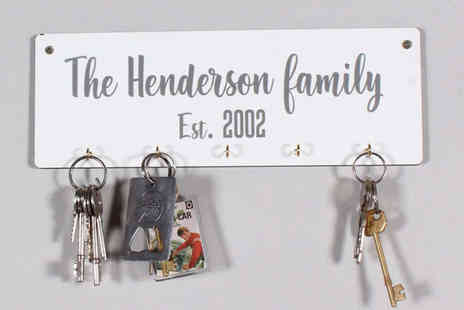 Your Perfect Canvas - Personalised wall mounted key holder - Save 73%
