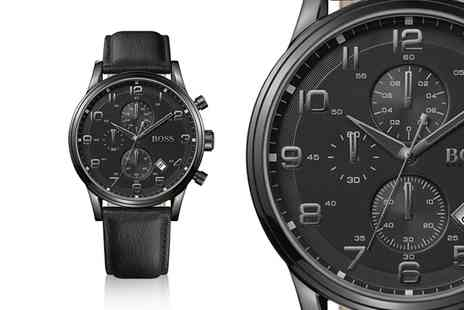 Best Watch Company - Mens Hugo Boss Aeroliner chronograph black leather watch - Save 55%